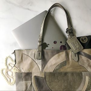 Coach Leather Patchwork Tote Purse in Grey/Taupe